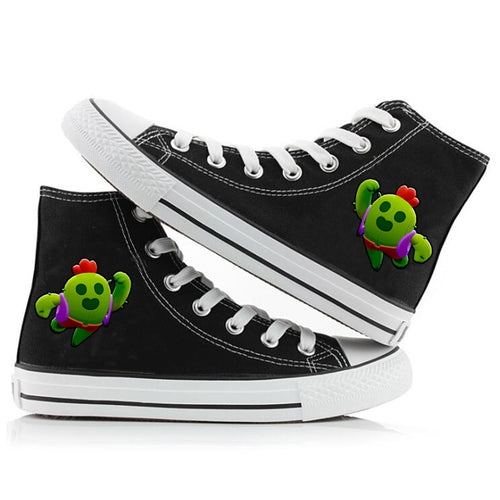 Game Brawl Stars Spike #5 Cosplay Shoes High Top Canvas Sneakers For Kids Adults