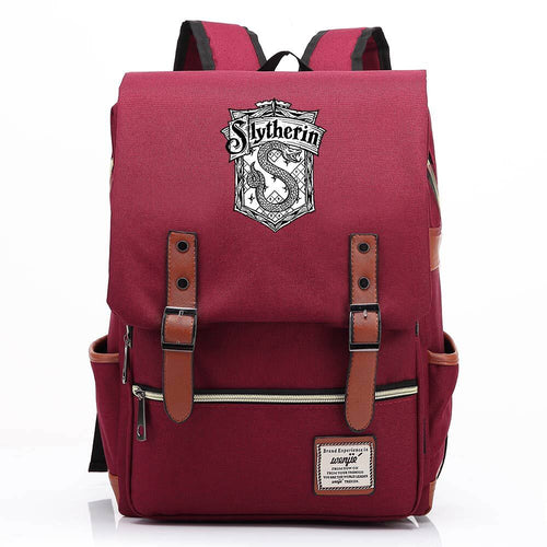 Harry Potter Slytherin Canvas Travel Backpack School Bag