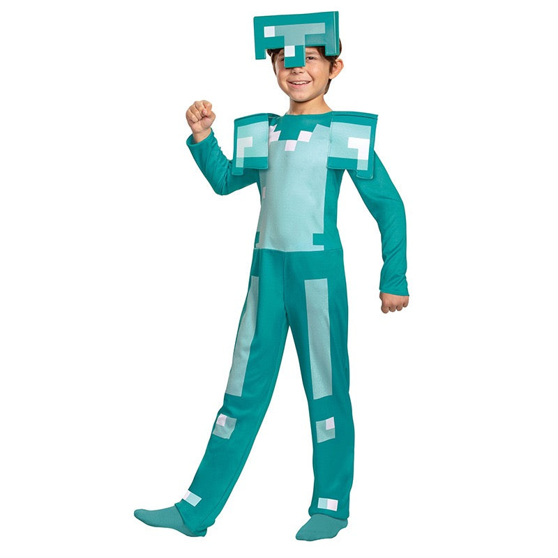 Minecrafted Diamond Armor Kids Game Character Halloween Cosplay Costume for Child