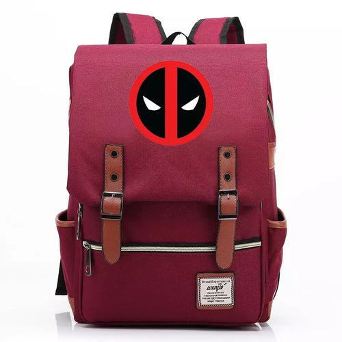 Deadpool Superhero Canvas Travel Backpack Notebook School Bag