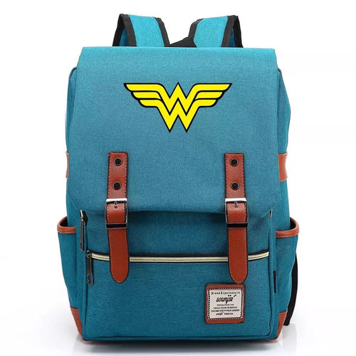 DC Wonder Woman Diana Prince Canvas Travel Backpack Notebook School Bag