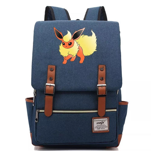 Pokemon Flareon Canvas Travel Backpack School Notebook Bag