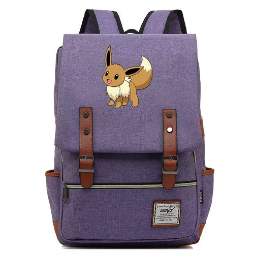 Pokemon Eevee Canvas Travel Backpack School Notebook Bag