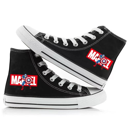 Marvel Avengers Captain America Superhero High Tops Casual Canvas Shoes Unisex Sneakers