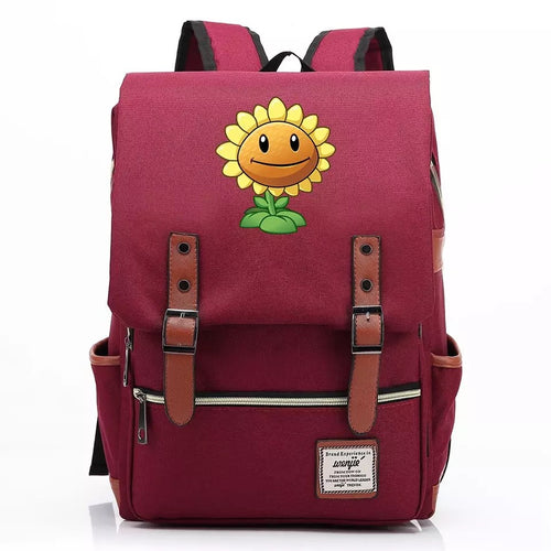 Game Plants VS Zombies Sunflower Canvas Travel Backpack School Book Bag