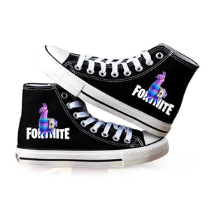 Game Fortnite Llama High Top Canvas Sneakers Cosplay Shoes For Kids