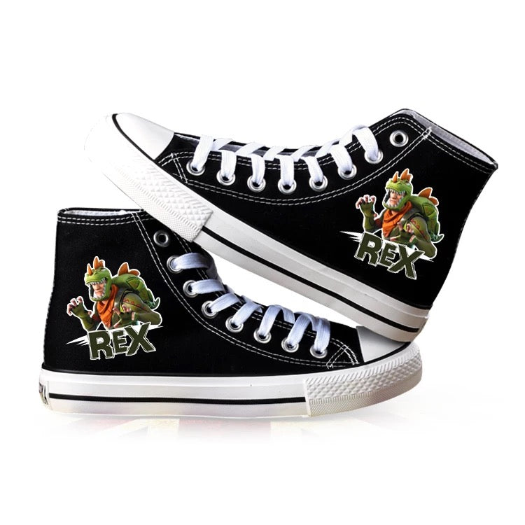 Game Fortnite Rex High Top Canvas Sneakers Cosplay Shoes For Kids