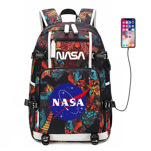 NASA Space USB Charging Backpack School NoteBook Laptop Travel Bags