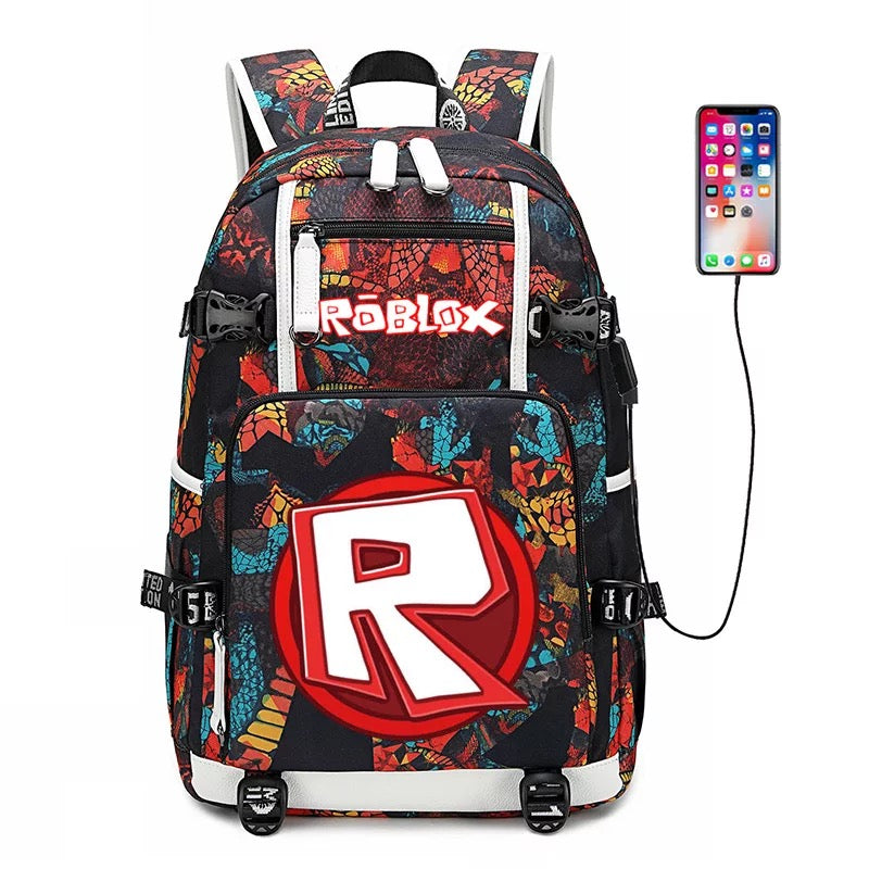 Game Roblox USB Charging Backpack School NoteBook Laptop Travel Bags