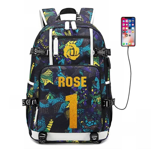 NBA Detroit Pistons Derrick Rose USB Charging Backpack School NoteBook Laptop Travel Bags