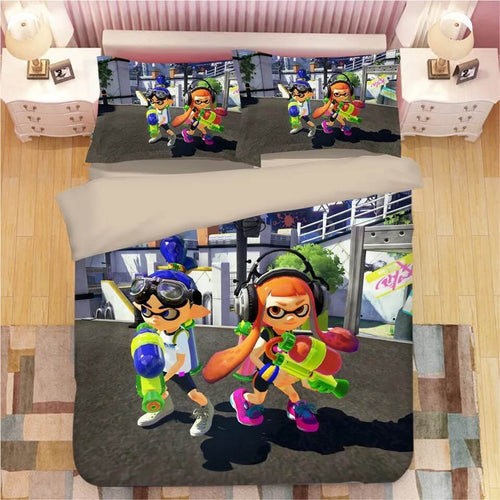 Game Splatoon #5 Bedding Set Duvet Cover Set  Pillow Cover Bedroom Set Bed Linen
