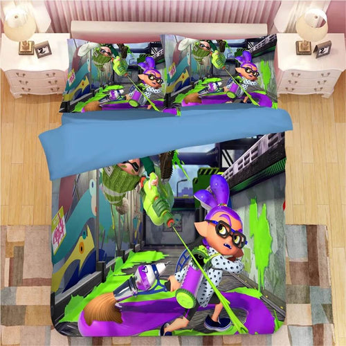 Game Splatoon #7 Bedding Set Duvet Cover Set  Pillow Cover Bedroom Set Bed Linen