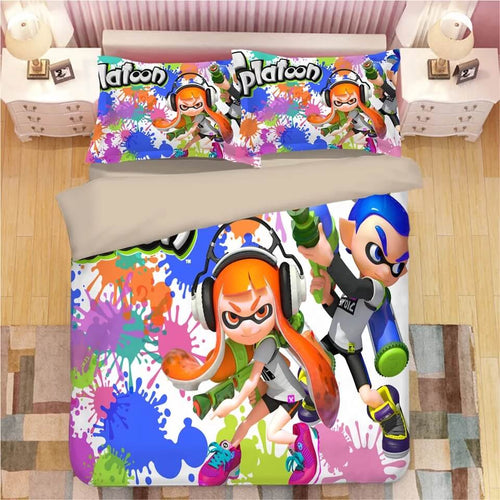 Game Splatoon #8 Bedding Set Duvet Cover Set  Pillow Cover Bedroom Set Bed Linen