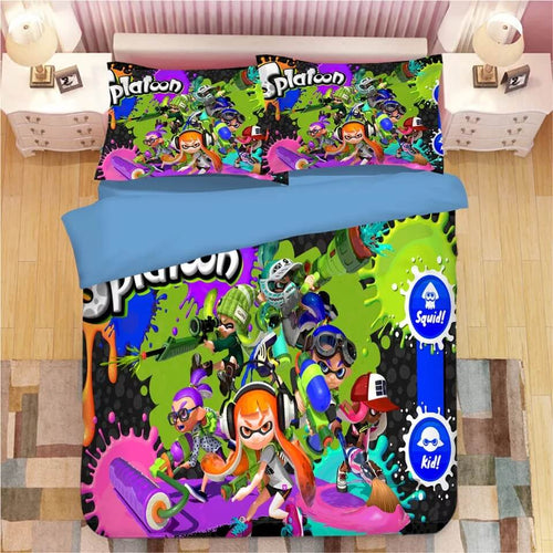 Game Splatoon #9 Bedding Set Duvet Cover Set  Pillow Cover Bedroom Set Bed Linen