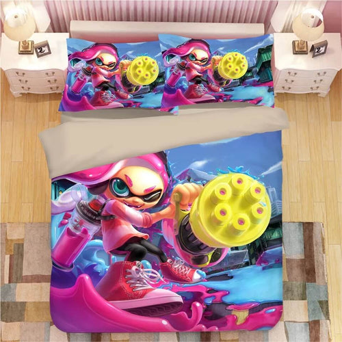 Game Splatoon #11 Bedding Set Duvet Cover Set  Pillow Cover Bedroom Set Bed Linen
