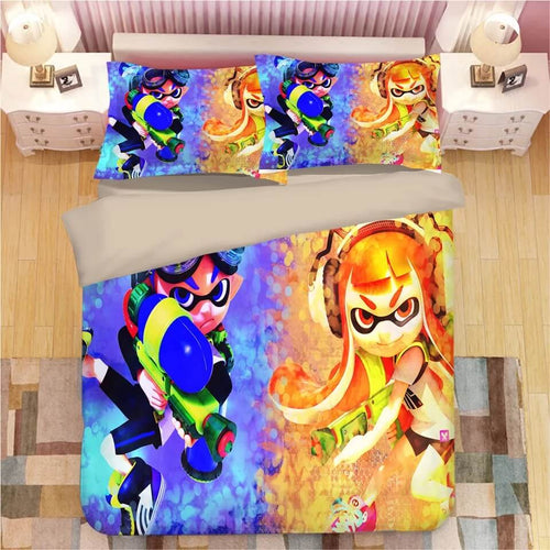 Game Splatoon #12 Bedding Set Duvet Cover Set  Pillow Cover Bedroom Set Bed Linen