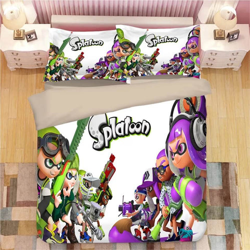Game Splatoon #13 Bedding Set Duvet Cover Set  Pillow Cover Bedroom Set Bed Linen