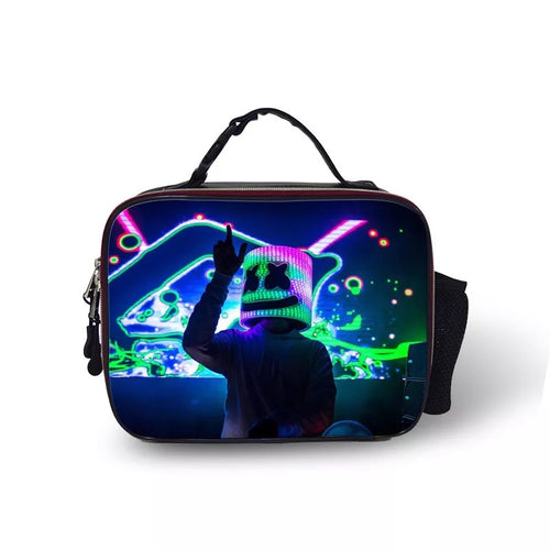 Fortnite Marshmello DJ Party #5 Portable Insulated PU Leather Lunch Box School Tote Storage Picnic Bag Case