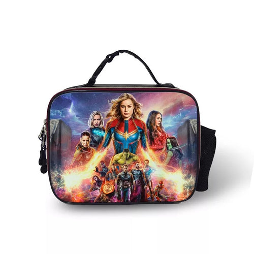 Avengers Endgame Captain Marvel #11 PU Leather Portable Lunch Box School Tote Storage Picnic Bag
