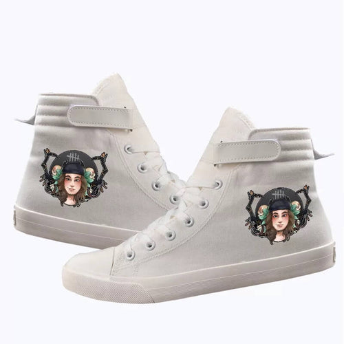 Game Dead By Daylight Huntress Rabbit Butcher Cosplay Shoes High Top Canvas Sneakers