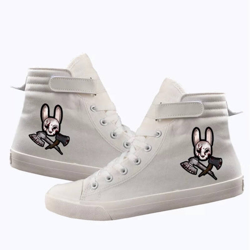 Game Dead By Daylight Huntress Rabbit Butcher #2 Cosplay Shoes High Top Canvas Sneakers