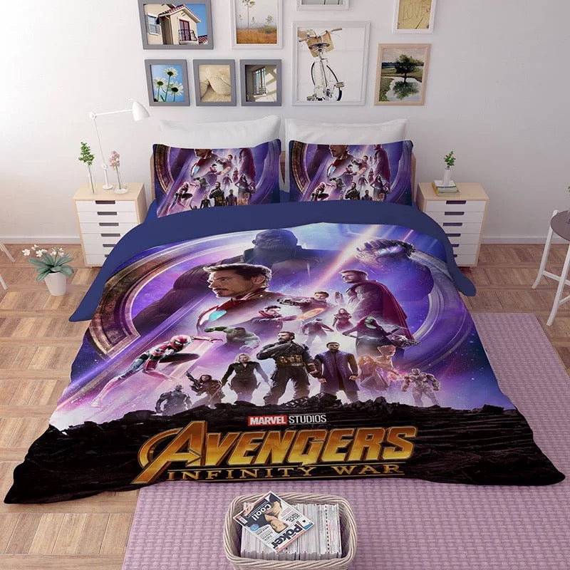 Mavel Comics Avengers Bedding Set 3D Printed Duvet Cover Single Twin Size Girl Boy Bed Linen