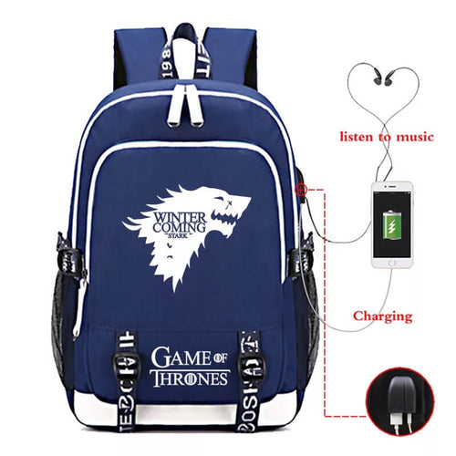 Game of Thrones Winter Is Coming USB Charging Backpack School NoteBook Laptop Travel Bags