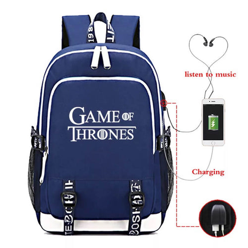 Game of Thrones USB Charging Backpack School NoteBook Laptop Travel Bags