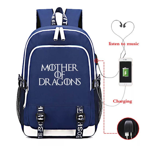 Game of Thrones Mother of Dragon USB Charging Backpack School NoteBook Laptop Travel Bags