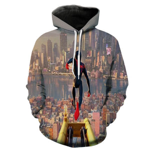 Spider-Man Into the Spider-Verse Miles Morales Cosplay Sweater Hoodie For Kids