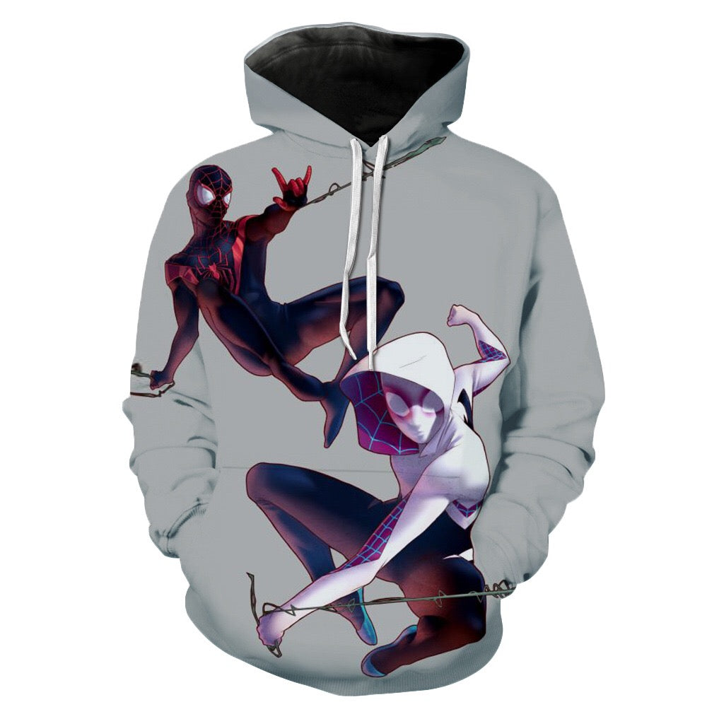 Spider-Man Into the Spider-Verse Miles Morales Gwen Cosplay Sweater Hoodie For Kids