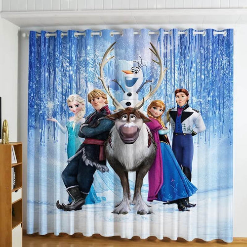 Frozen Princess Elsa Anna #4 Blackout Curtains For Window Treatment Set For Living Room Bedroom
