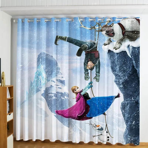 Frozen Princess Elsa Anna #5 Blackout Curtains For Window Treatment Set For Living Room Bedroom