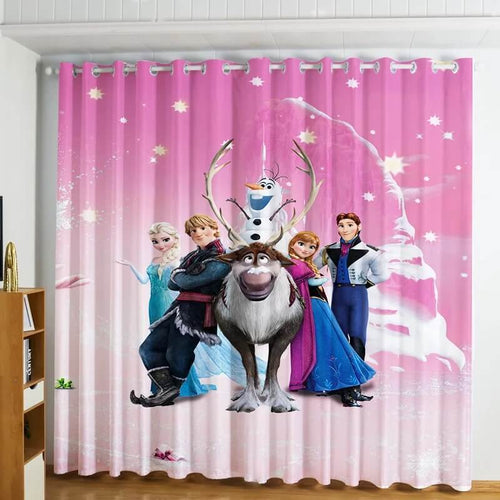 Frozen Princess Elsa Anna #6 Blackout Curtains For Window Treatment Set For Living Room Bedroom