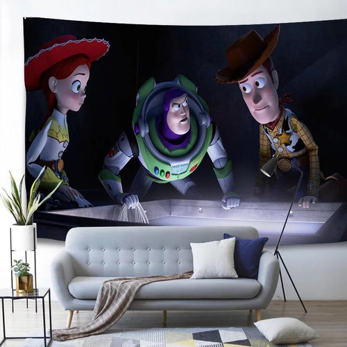 Toy Story Buzz Lightyear Woody Forky #1 Wall Decor Hanging Tapestry Home Bedroom Living Room Decoration