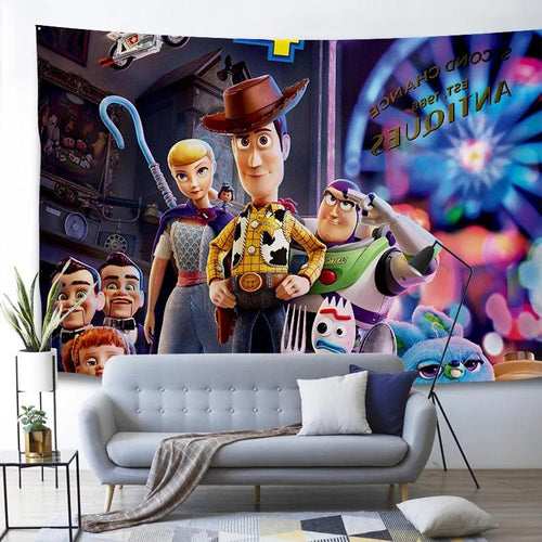 Toy Story Buzz Lightyear Woody Forky #2 Wall Decor Hanging Tapestry Home Bedroom Living Room Decoration