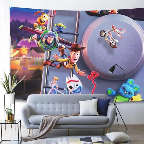 Toy Story Buzz Lightyear Woody Forky #3 Wall Decor Hanging Tapestry Home Bedroom Living Room Decoration