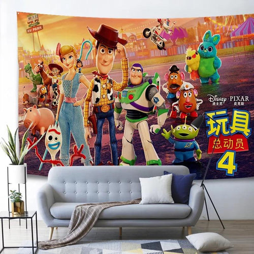 Toy Story Buzz Lightyear Woody Forky #4 Wall Decor Hanging Tapestry Home Bedroom Living Room Decoration