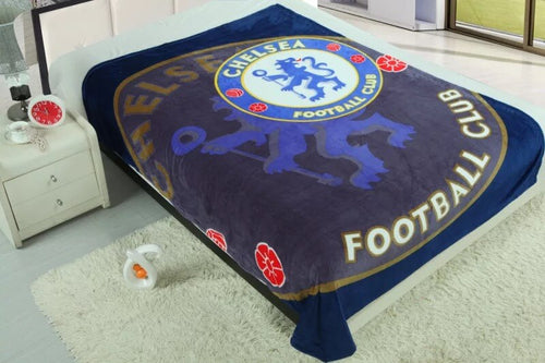 Chelsea Football Club Plush Raschel Throw Blanket with Sherpa Lining