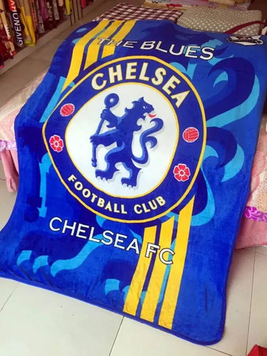 The Blues Chelsea Football Club Plush Raschel Throw Blanket with Sherpa Lining