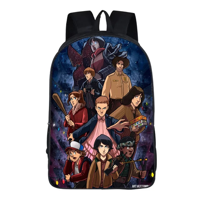 Kid's Personality Cartoon Stranger Things Printed Backpack Schoolbag