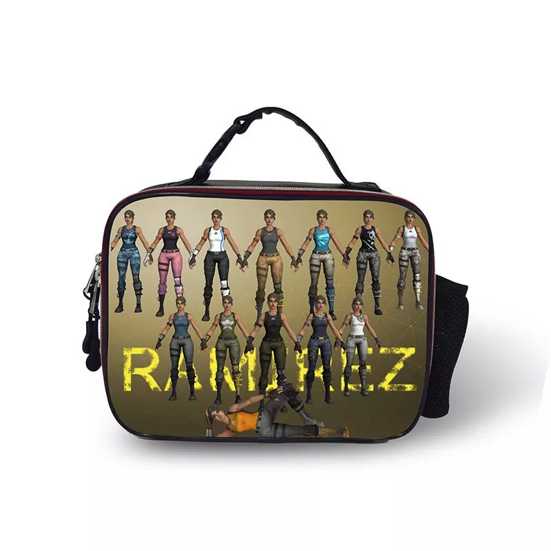 Fortnite Jungle Scout Portable Insulated Lunch Box School Carry Tote Storage Picnic Bag Case For Boy Kids