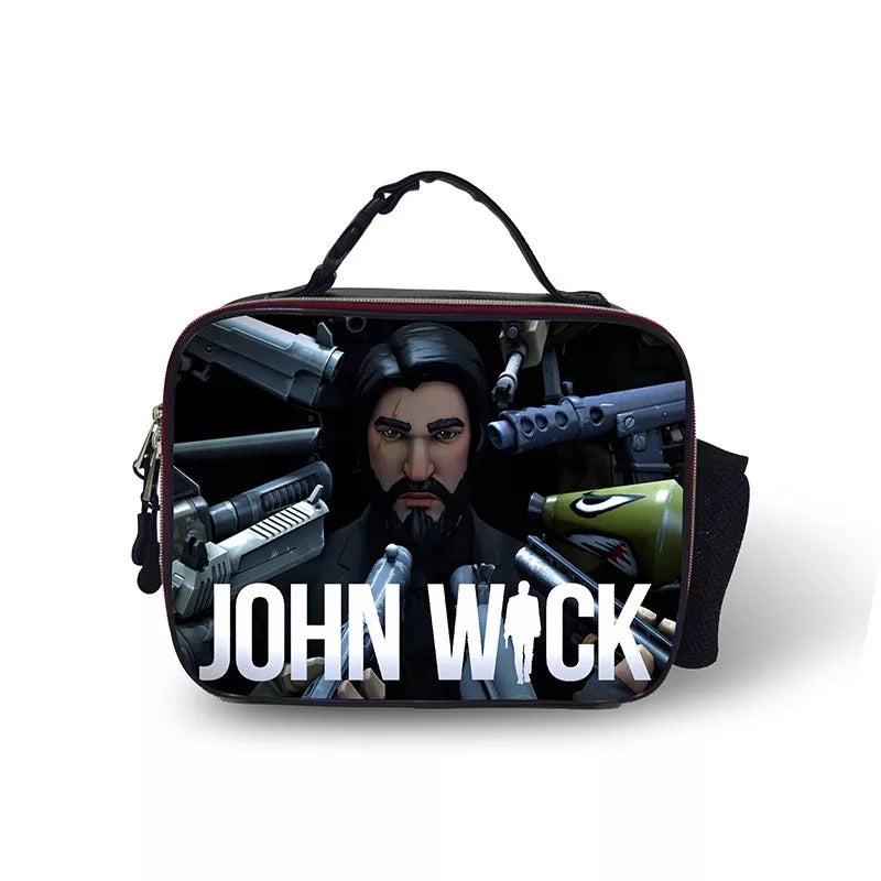 Fortnite The Reaper John Wick Portable Insulated Lunch Box School Carry Tote Storage Picnic Bag Case For Boy Kids