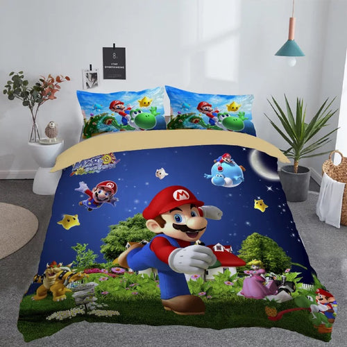 Game Super Mario Bros.Pokemon Sonic Arms Kids Bedding Set Quilt Cover Pillowcase