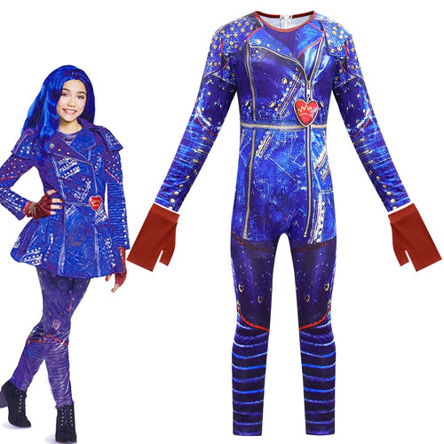 Descendants 3 Evie Cosplay Costume Halloween Zentai Jumpsuit For Kids