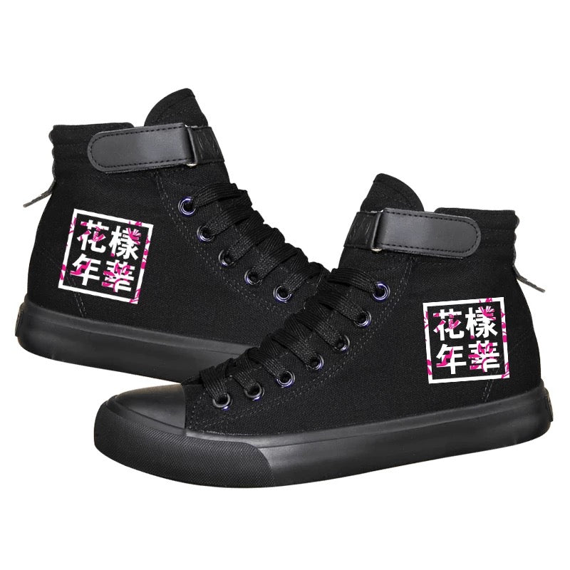 Kpop BTS High Tops Casual Canvas Shoes Unisex Black Sneakers