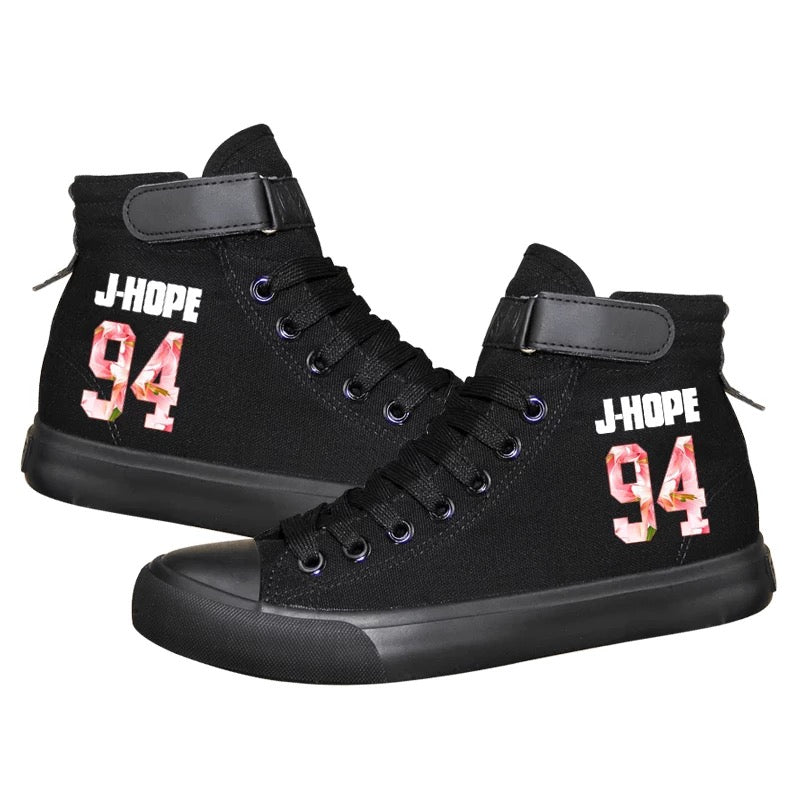 Kpop BTS J-HOPE 94 High Tops Casual Canvas Shoes Unisex Black Sneakers
