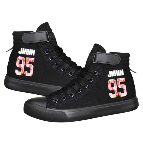 Kpop BTS JIMIN 95 High Tops Casual Canvas Shoes Unisex Black Sneakers