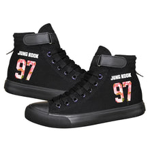Load image into Gallery viewer, Kpop BTS JUNG KOOK 97 High Tops Casual Canvas Shoes Unisex Black Sneakers