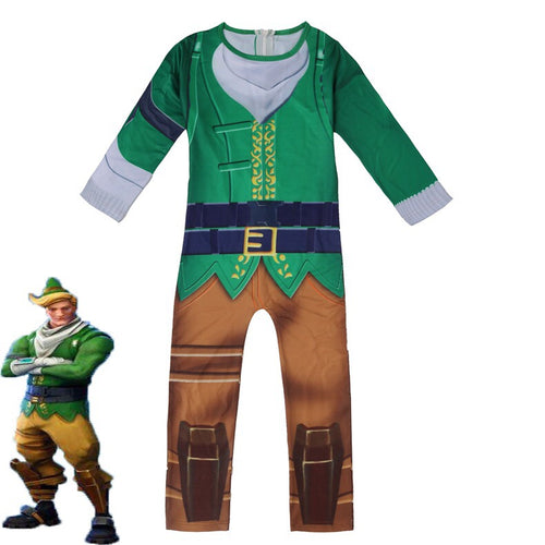 Fortnite Codename ELF Christmas Cosplay Costume Halloween Zentai Jumpsuit For Kids